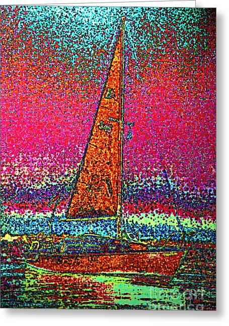 First Star Art Mixed Media Greeting Cards - Tom Rays Sailboat 3 Greeting Card by First Star Art