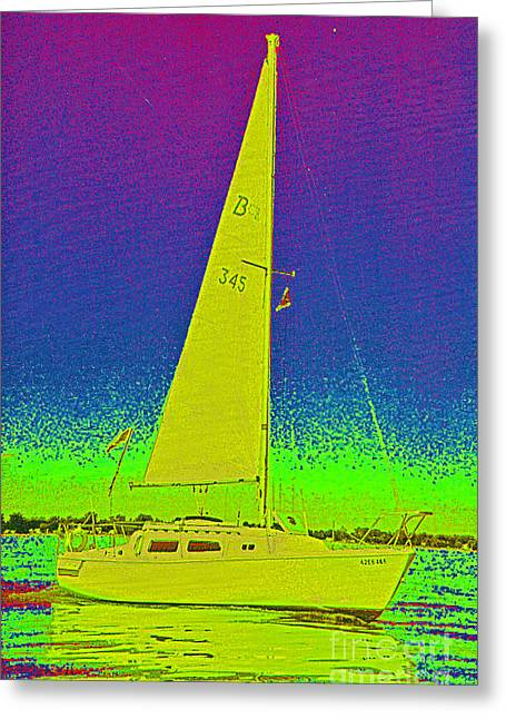 Best Sellers -  - Yellow Sailboats Greeting Cards - Tom Rays Sailboat Greeting Card by First Star Art
