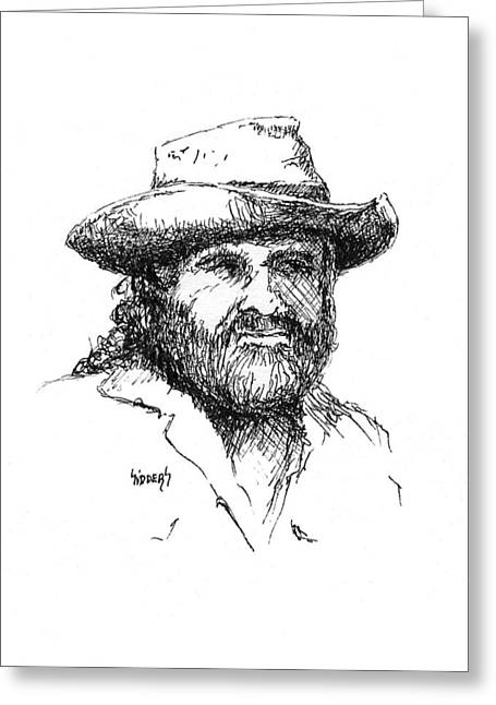 Character Portraits Drawings Greeting Cards - Tom Greeting Card by Sam Sidders