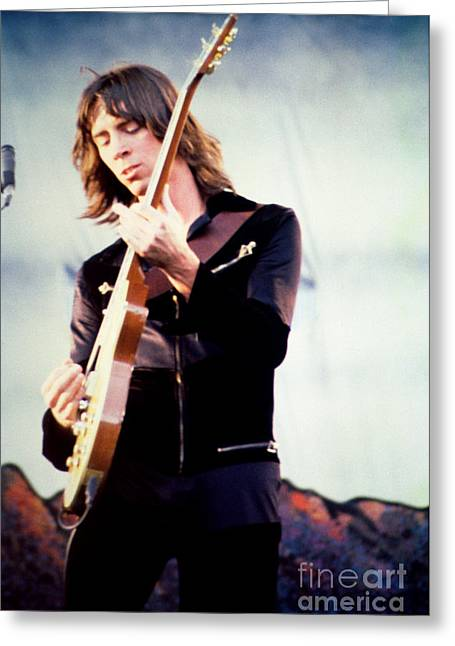 Green Day Greeting Cards - Tom Scholz of Boston-Day on the Green 1 in Oakland Ca 5-6-79 1st Release Greeting Card by Daniel Larsen