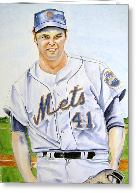 Tom Seaver Greeting Cards - Tom Seaver Greeting Card by Brian Degnon