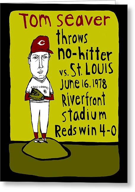 Tom Seaver Greeting Cards - Tom Seaver Cincinnati Reds Greeting Card by Jay Perkins