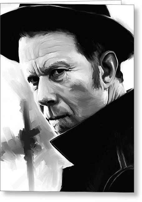 Singer Songwriter Greeting Cards - Tom Waits Artwork 1 Greeting Card by Sheraz A