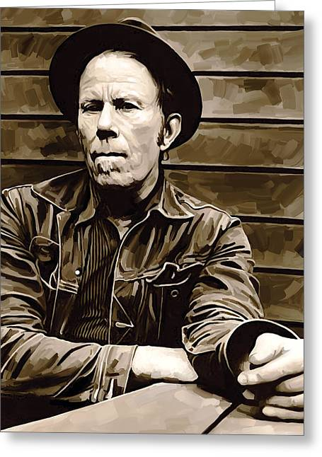 Blue Art Greeting Cards - Tom Waits Artwork 2 Greeting Card by Sheraz A