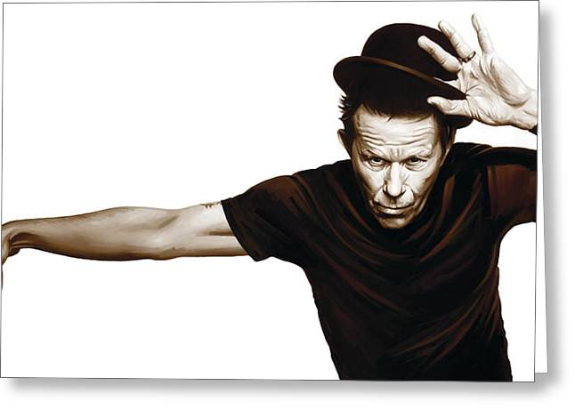 Wait Greeting Cards - Tom Waits Artwork  4 Greeting Card by Sheraz A