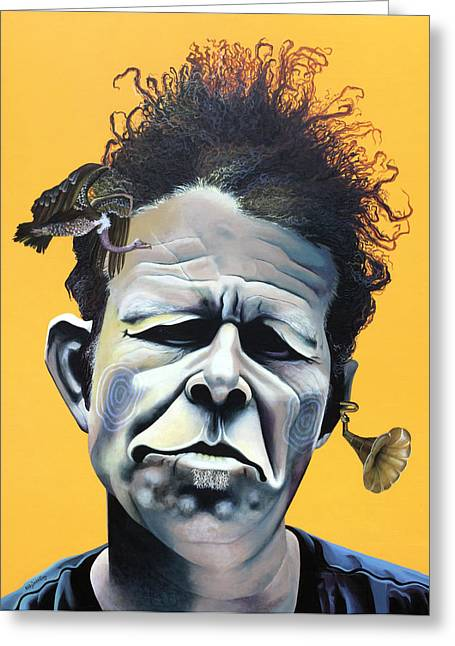 Big Mixed Media Greeting Cards - Tom Waits - Hes Big In Japan Greeting Card by Kelly Jade King