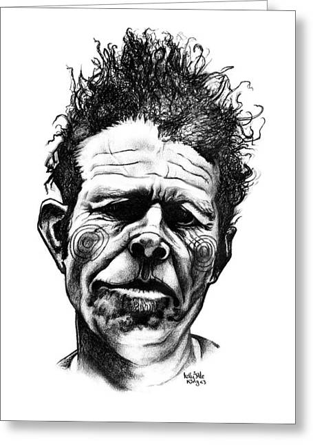 Famous Faces Drawings Greeting Cards - Tom Waits Greeting Card by Kelly Jade King