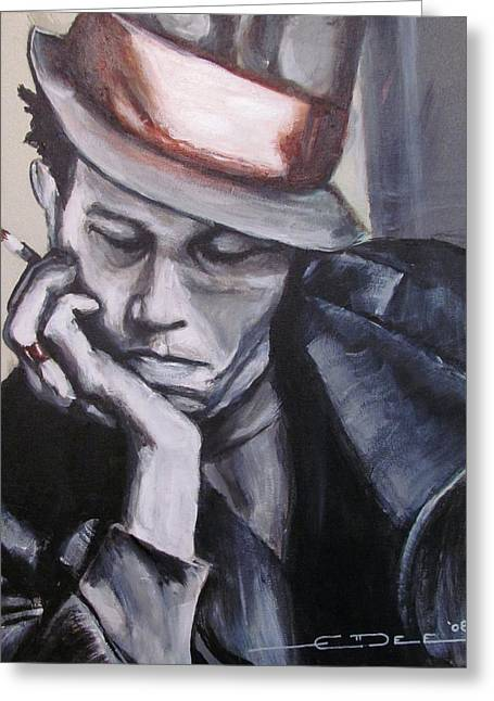 Celebrity Portrait Greeting Cards - Tom Waits one Greeting Card by Eric Dee
