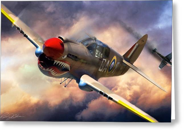 Warhawk Greeting Cards - Tomahawk Chop Greeting Card by Peter Chilelli