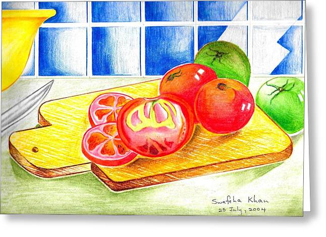 Tomato Drawings Greeting Cards - Tomatoes Greeting Card by Swafeha Khan