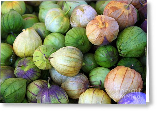 Grocery Store Greeting Cards - Tomatillos Greeting Card by Carol Groenen