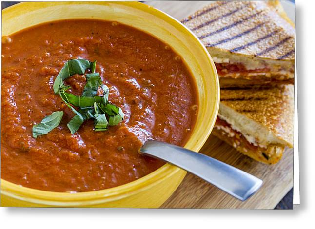 Parmesan Greeting Cards - Tomato and Basil Soup with Grilled Cheese Panini Greeting Card by Teri Virbickis