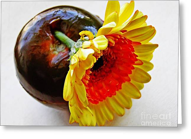 Interior Still Life Photographs Greeting Cards - Tomato and Daisy Greeting Card by Sarah Loft