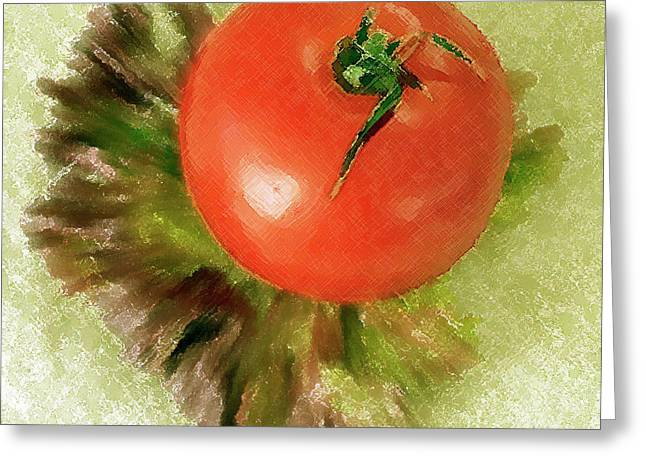 Lettuce Greeting Cards - Tomato And Lettuce Greeting Card by Ben and Raisa Gertsberg
