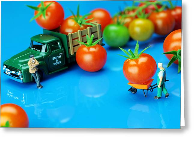 Creative People Greeting Cards - Tomato business little people on food Greeting Card by Paul Ge