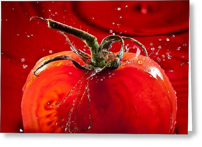 Drop Greeting Cards - Tomato FreshSplash 2 Greeting Card by Steve Gadomski