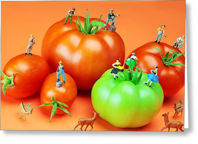 Creative People Greeting Cards - Tomato harvest little people on food Greeting Card by Paul Ge