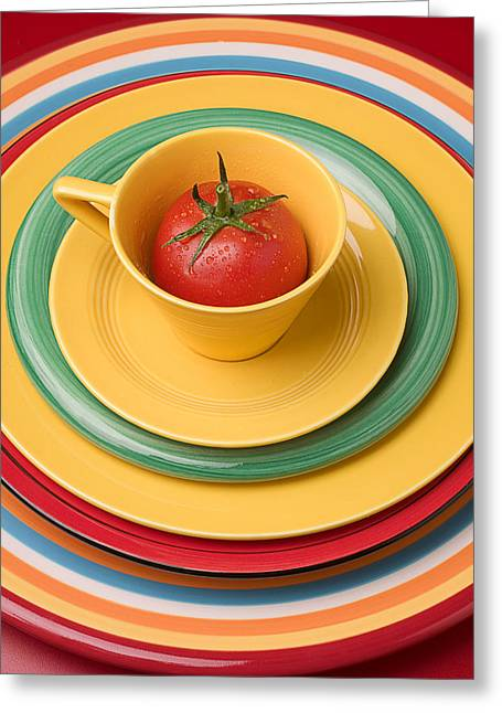 Edible Greeting Cards - Tomato In A Cup Greeting Card by Garry Gay
