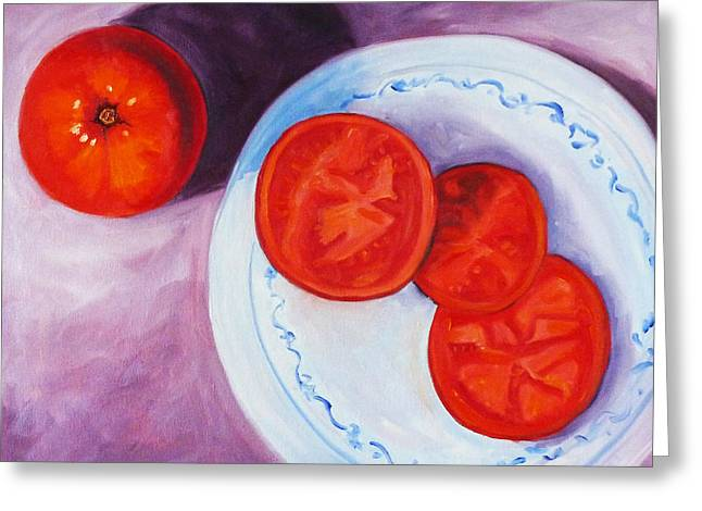 Tomato Greeting Card by Nancy Merkle