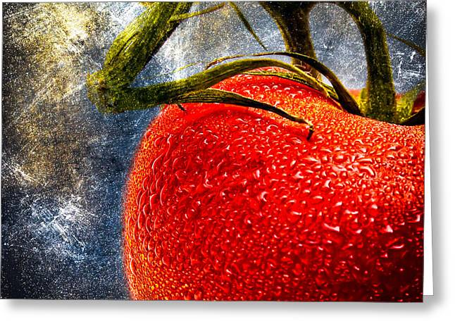 Original Photographs Greeting Cards - Tomato On A Vine Greeting Card by Bob Orsillo