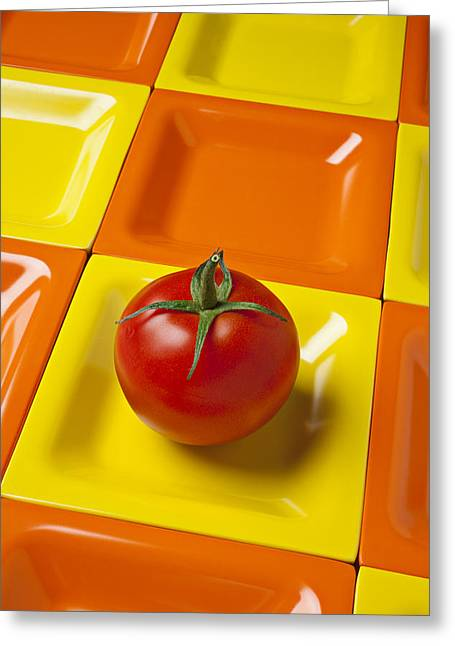 Produce Greeting Cards - Tomato on square plate Greeting Card by Garry Gay