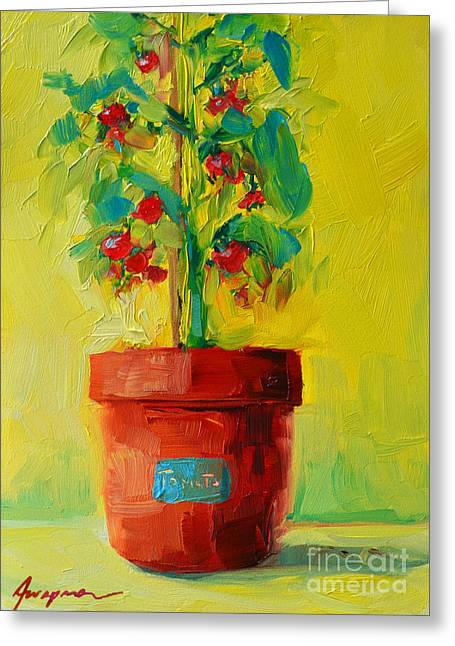 Buy Posters Online Greeting Cards - Tomato Plant Still Life Oil Painting Greeting Card by Patricia Awapara