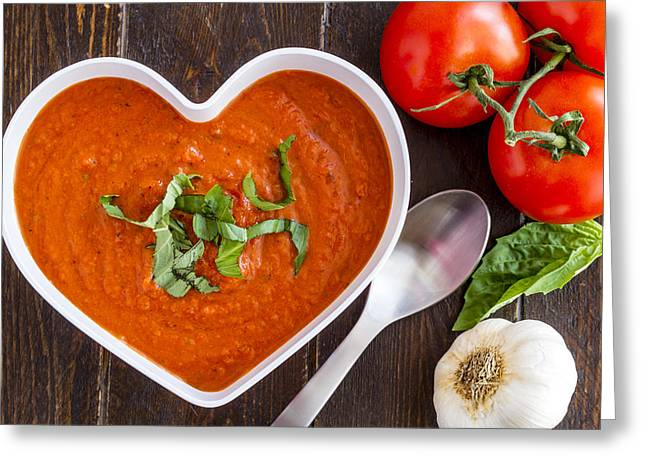 Wooden Bowl Greeting Cards - Tomato Soup Love Greeting Card by Teri Virbickis