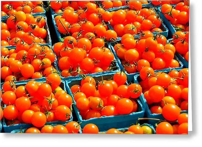 Tomato Squares Greeting Card by Mamie Gunning