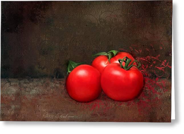 Fresh Produce Paintings Greeting Cards - Tomato Trio Greeting Card by Enzie Shahmiri