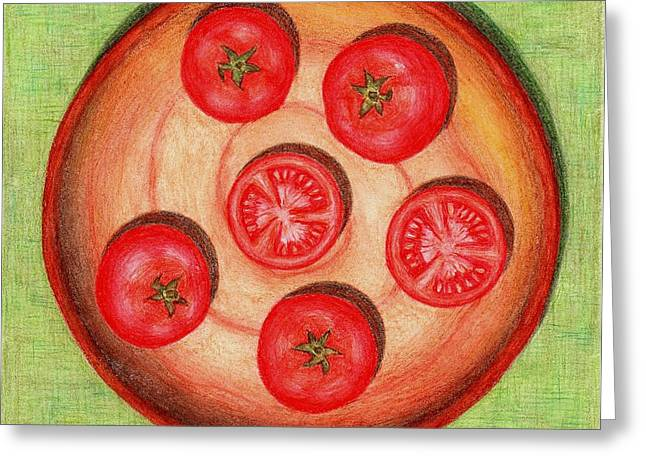 Tomato Drawings Greeting Cards - Tomatoes Greeting Card by Alena Fotkova