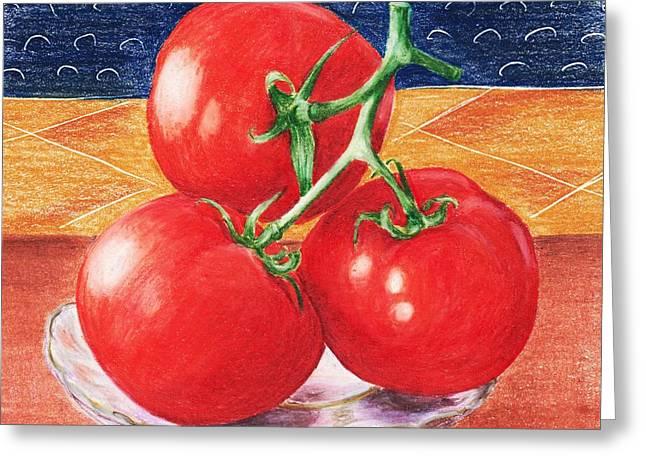 Tomato Drawings Greeting Cards - Tomatoes Greeting Card by Anastasiya Malakhova
