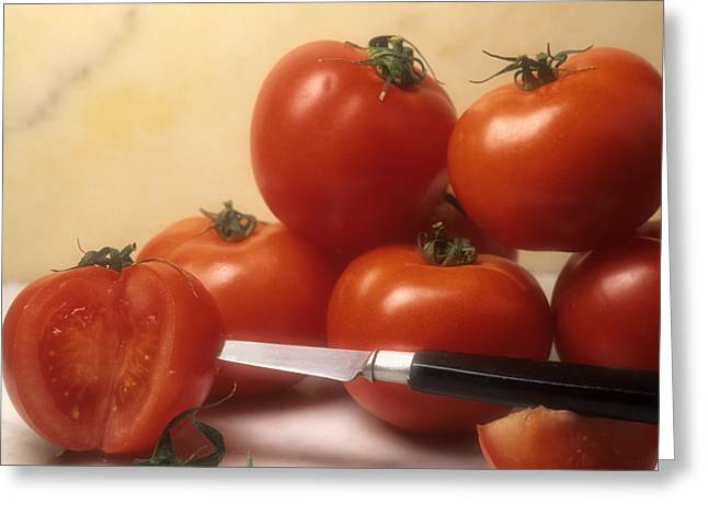 """indoor"" Still Life Greeting Cards - Tomatoes and a knife Greeting Card by Bernard Jaubert"