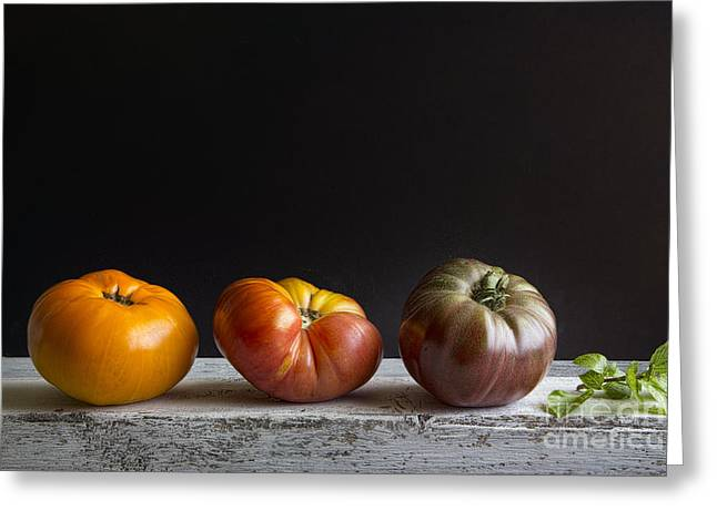 Tabletop Greeting Cards - Tomatoes And Basil Greeting Card by Elena Nosyreva