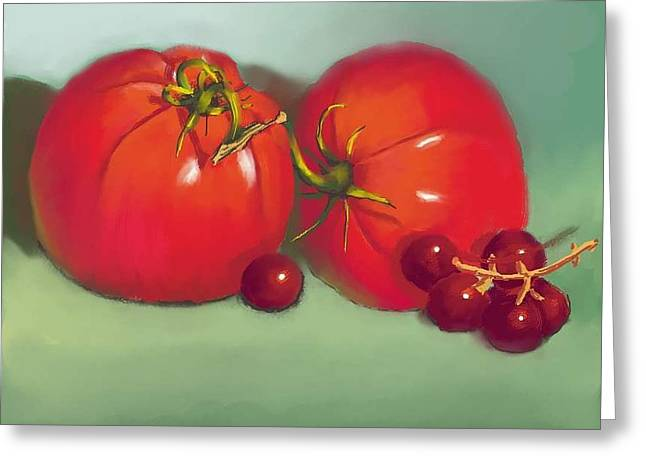 Concord Grapes Digital Greeting Cards - Tomatoes and Concord Grapes Greeting Card by Dessie Durham