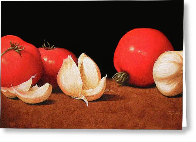 Italian Kitchen Greeting Cards - Tomatoes and Garlic Greeting Card by Timothy Jones