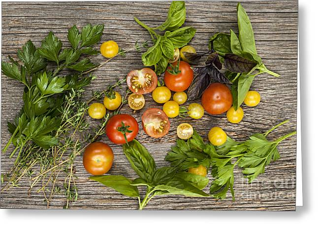 Organic Photographs Greeting Cards - Tomatoes and herbs Greeting Card by Elena Elisseeva