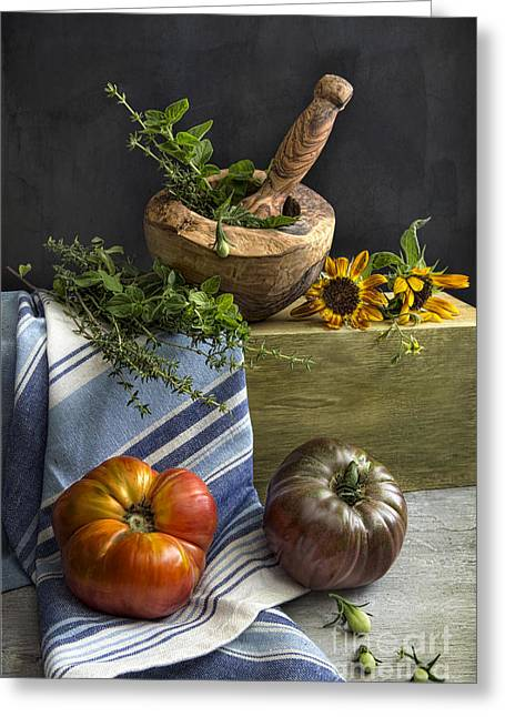 Tabletop Greeting Cards - Tomatoes and herbs Greeting Card by Elena Nosyreva