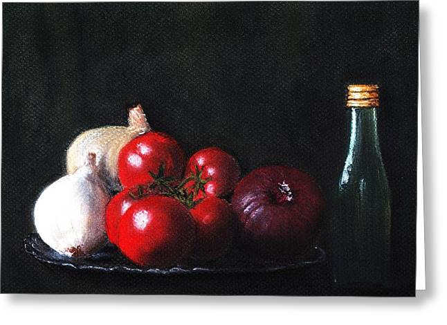 Interior Still Life Pastels Greeting Cards - Tomatoes and Onions Greeting Card by Anastasiya Malakhova