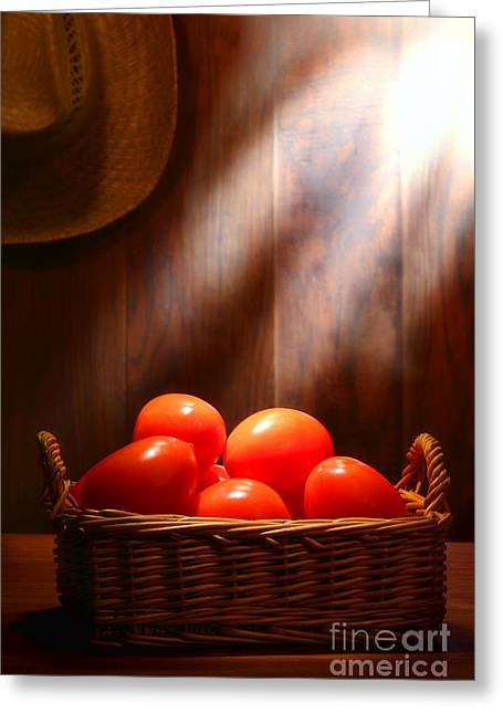 Tomato Greeting Cards - Tomatoes at an Old Farm Stand Greeting Card by Olivier Le Queinec