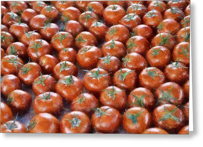 Edible Digital Greeting Cards - Tomatoes at the Market Greeting Card by Michelle Calkins