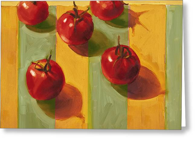 Vegetables Paintings Greeting Cards - Tomatoes Greeting Card by Cathy Locke