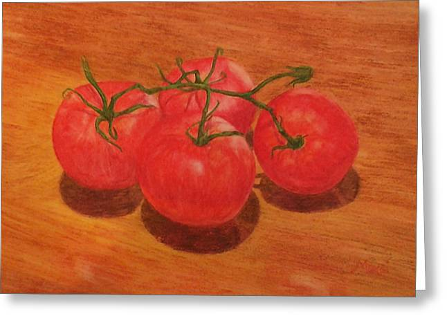 Tomato Drawings Greeting Cards - Tomatoes Greeting Card by Elizah Monai