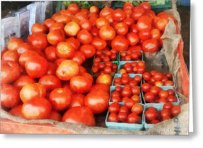 Harvest Greeting Cards - Tomatoes For Sale Greeting Card by Susan Savad