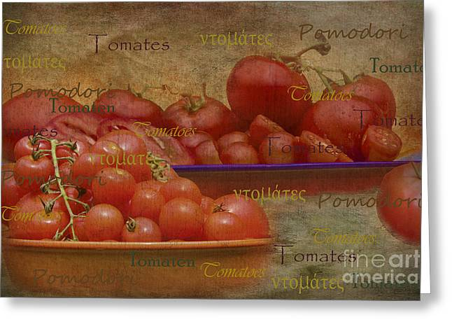 Michelle Greeting Cards - Tomatoes from around the world Greeting Card by Michelle Orai