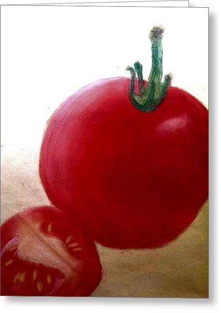 Tomato Pastels Greeting Cards - Tomatoes Greeting Card by Hayley Jeenes