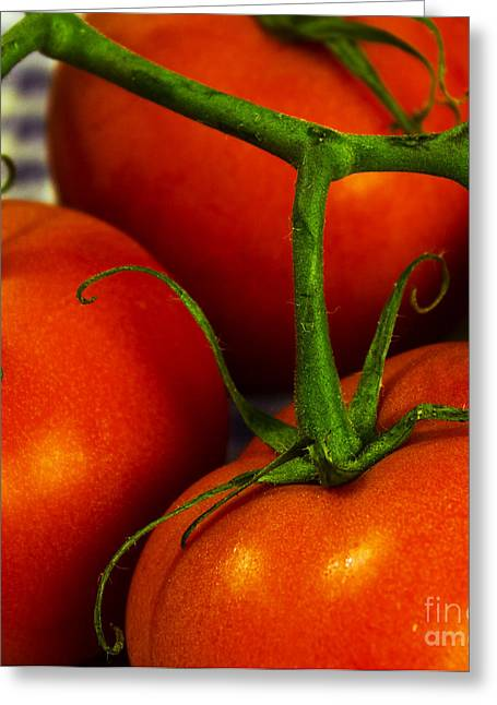 Spaghetti Greeting Cards - Tomatoes Greeting Card by Jacqueline Barden
