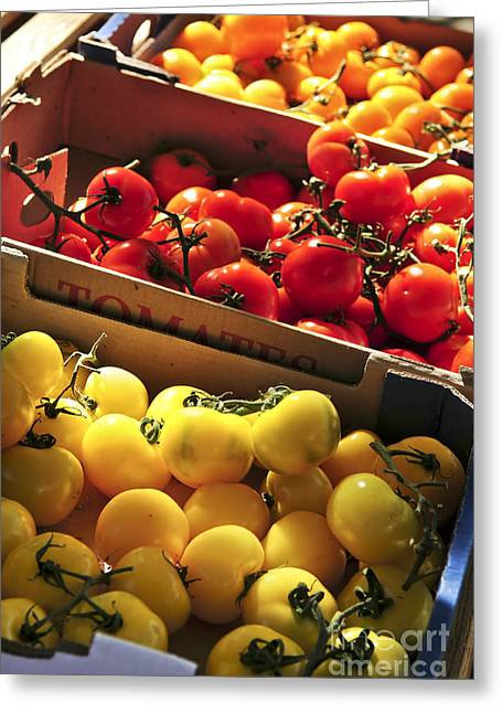 Assorted Photographs Greeting Cards - Tomatoes on the market Greeting Card by Elena Elisseeva