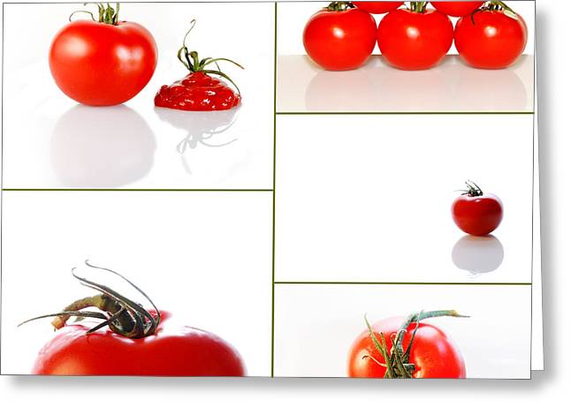 Busybee Greeting Cards - Tomatoes on White Greeting Card by Sabine Jacobs
