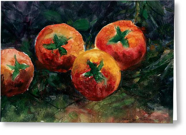 Award Winning Art Greeting Cards - Tomatoes Greeting Card by Steven Schultz