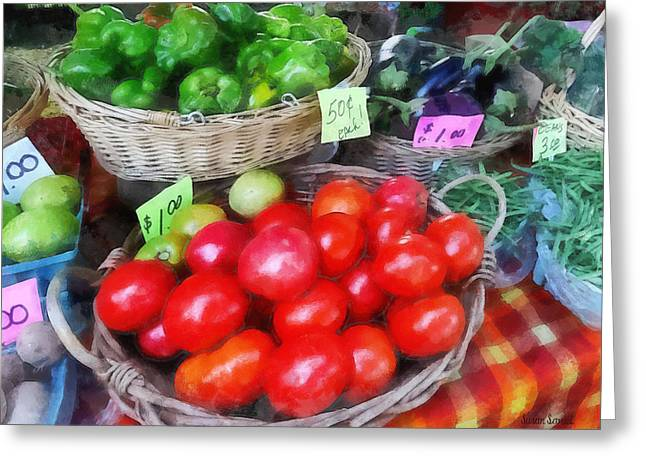 Cuisine Greeting Cards - Tomatoes String Beans and Peppers at Farmers Market Greeting Card by Susan Savad